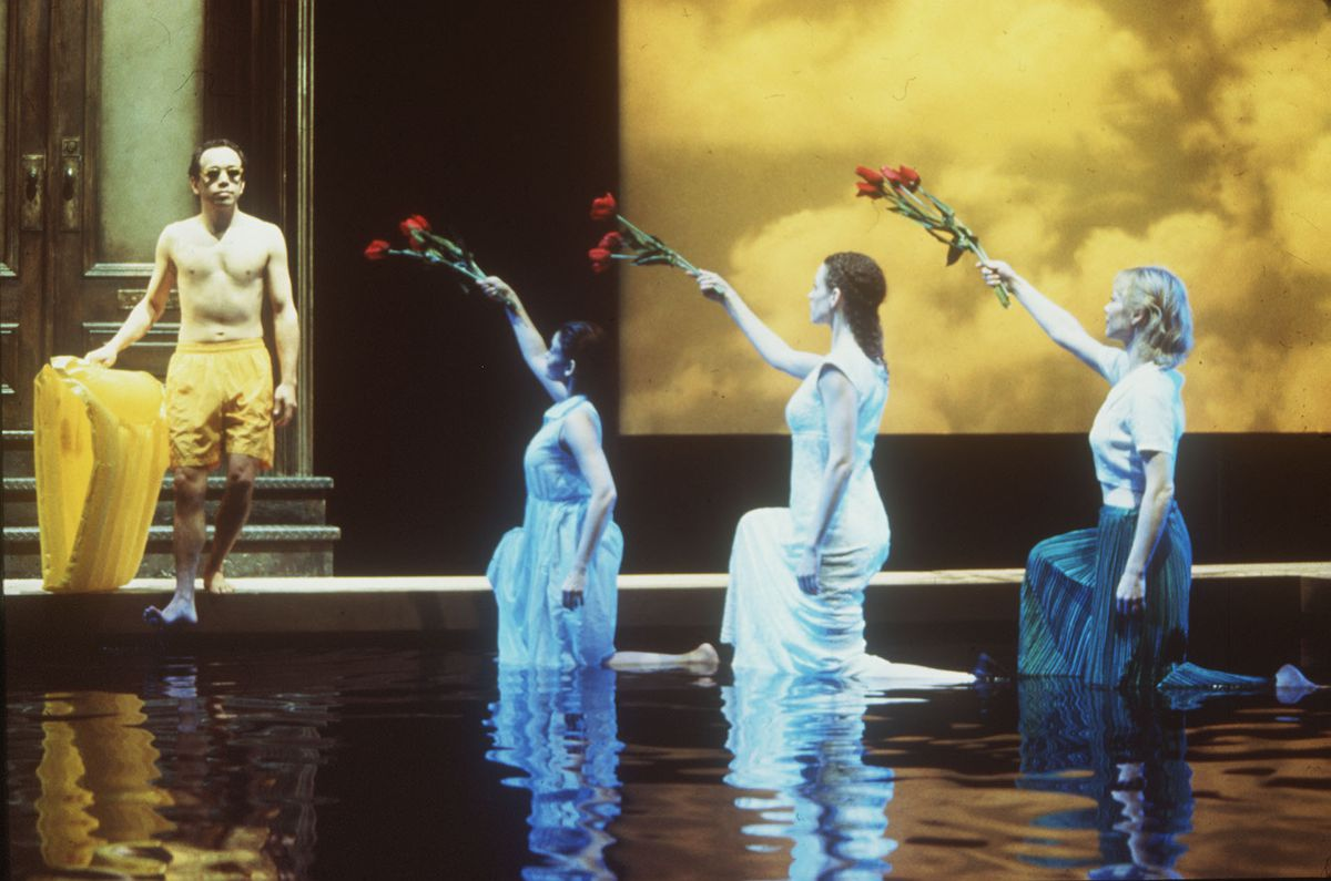 """Mariann Mayberry (right) appears in """"Metamorphoses"""" at Circle in the Square Theatre on Broadway. With her are Doug Hara (from left), Anjali Bhimani and Louise Lamson. 