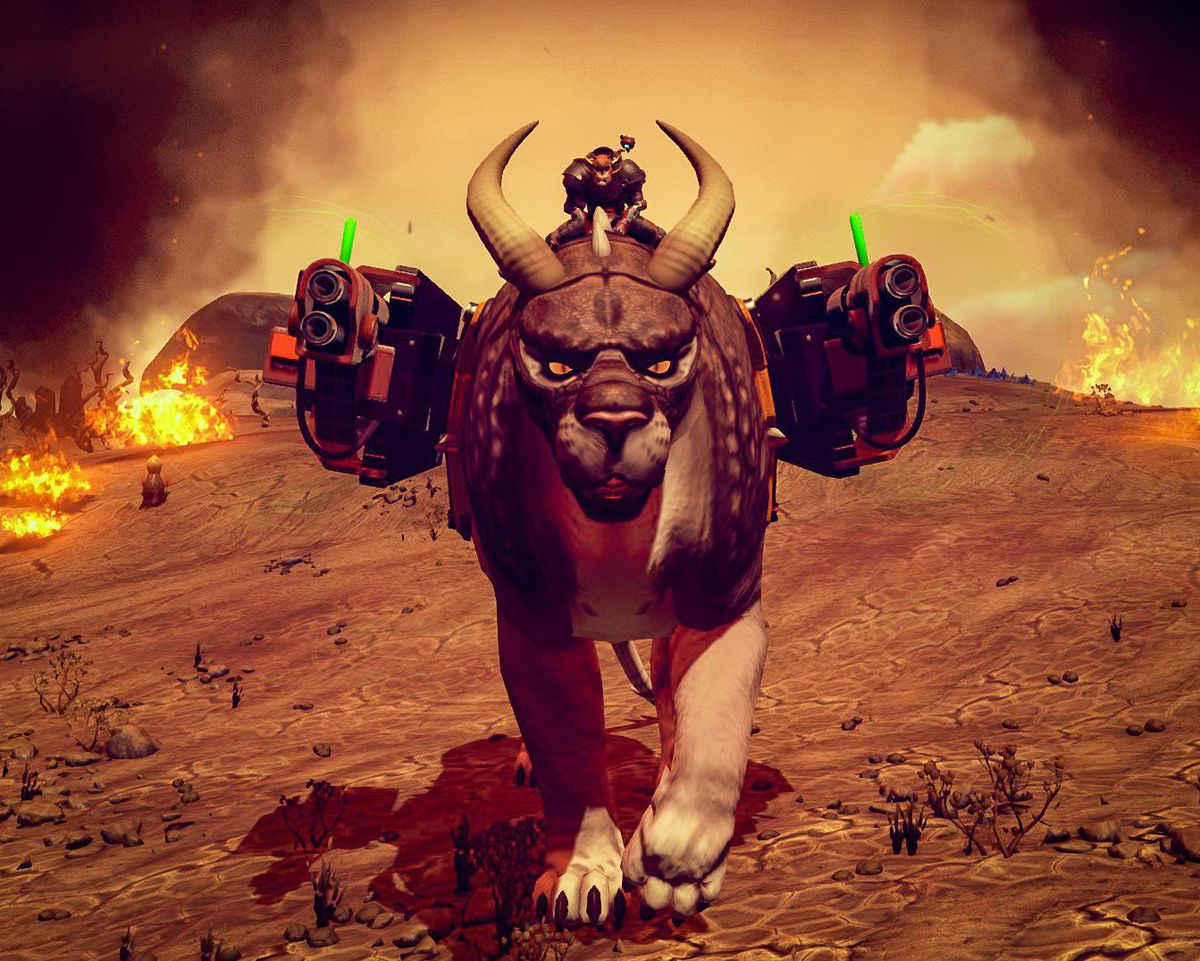 No Man's Sky - a player is aboard Fluffy, a giant ox-wildcat creature mounted with two machine guns.