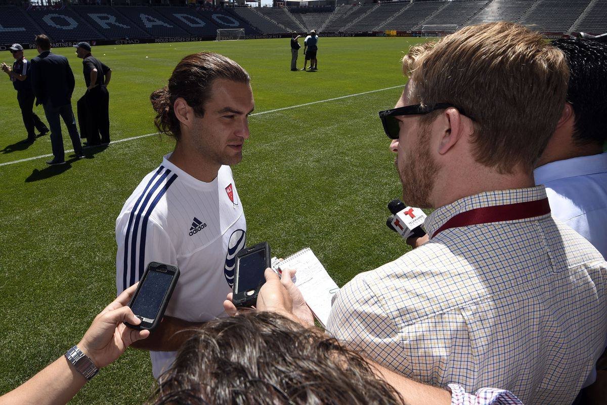 San Zusi faces the media in Colorado during All Star week.