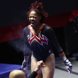 Utah's Cammy Hall reacts after her vault as Utah and Washington compete in an NCAA gymnastics meet at the Huntsman Center in Salt Lake City on Saturday, Jan. 30, 2021. No. 4 Utah won 197.475 to 193.300.