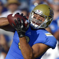UCLA tight end Joseph Fauria makes a touchdown catch during the first half of an NCAA football game against Nebraska, Saturday, Sept. 8, 2012, in Pasadena, Calif. (AP Photo/Mark J. Terrill)