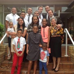 Australian rugby star Will Hopoate (upper right) with his family and President Lon Henderson and his wife Carrie Henderson at the end of his mission in Brisbane.
