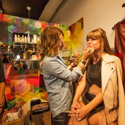 """Jenny Bernheim getting her makeup did. Don't forget to swing by her <a href=""""http://la.racked.com/archives/2013/09/25/lauren_conrads_paper_crown_soiree_marimekko_diy_party.php""""target=""""_blank"""">DIY party</a> at Marimekko this Saturday!"""