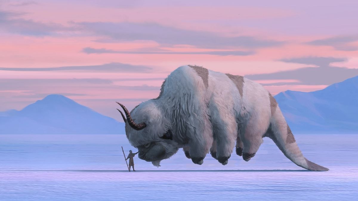 Aang and Appa hover above the ice in concept art from netflix's avatar the last Airbender series