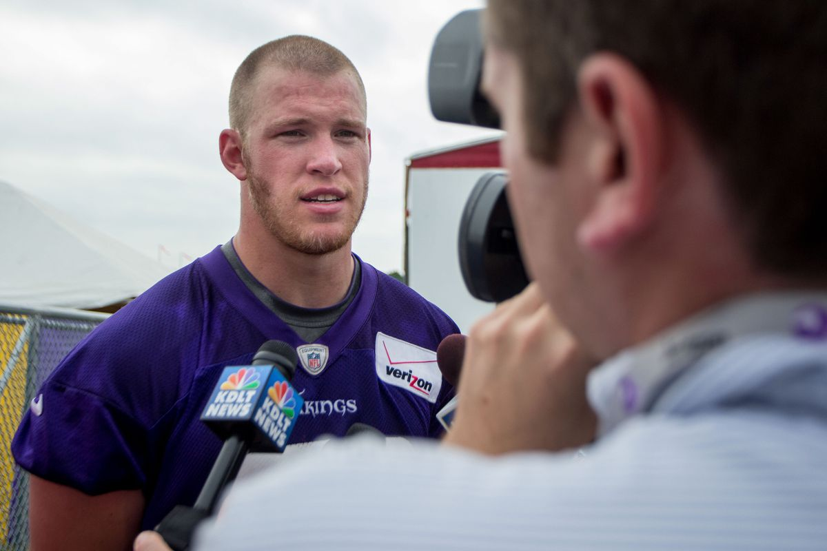 Jul 25, 2014; Mankato, MN, USA; Minnesota Vikings tight end Kyle Rudolph (82) speaks with the media after training camp practice at Minnesota State University
