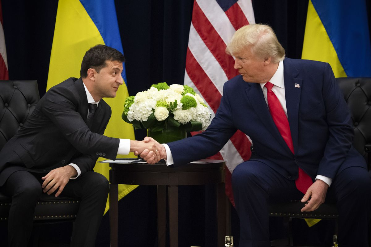 Donald Trump and Ukrainian President Volodymyr Zelensky shake hands during a meeting in New York on September 25, 2019, on the sidelines of the United Nations General Assembly.