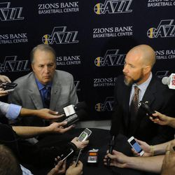 Utah Jazz President Randy Rigby, left, and Miller Sports Properties president Steve Miller answer questions during media day at the Zions Bank Basketball Center on Monday, September 30, 2013.