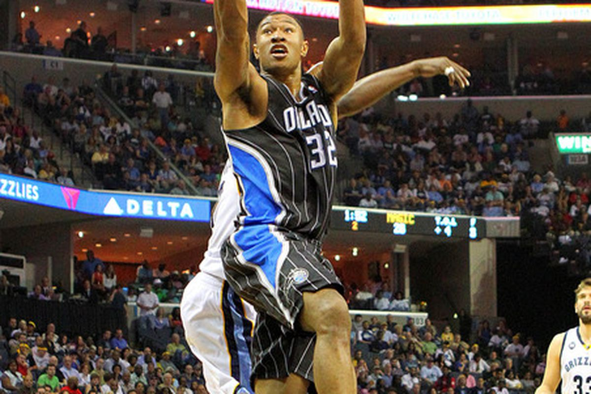 Apr 26, 2012; Memphis, TN, USA;  Orlando Magic forward Justin Harper (32) shoots the ball during the first half against the Memphis Grizzlies at the FedEx Forum.  Mandatory Credit: Spruce Derden-US PRESSWIRE