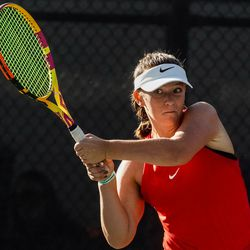 Erika Olsen, of Bear River, returns a shot from Bailey Huebner, of Green Canyon, during the final singles match of the 4A girls tennis state tournament at Liberty Park Tennis Center in Salt Lake City on Saturday, Oct. 2, 2021.
