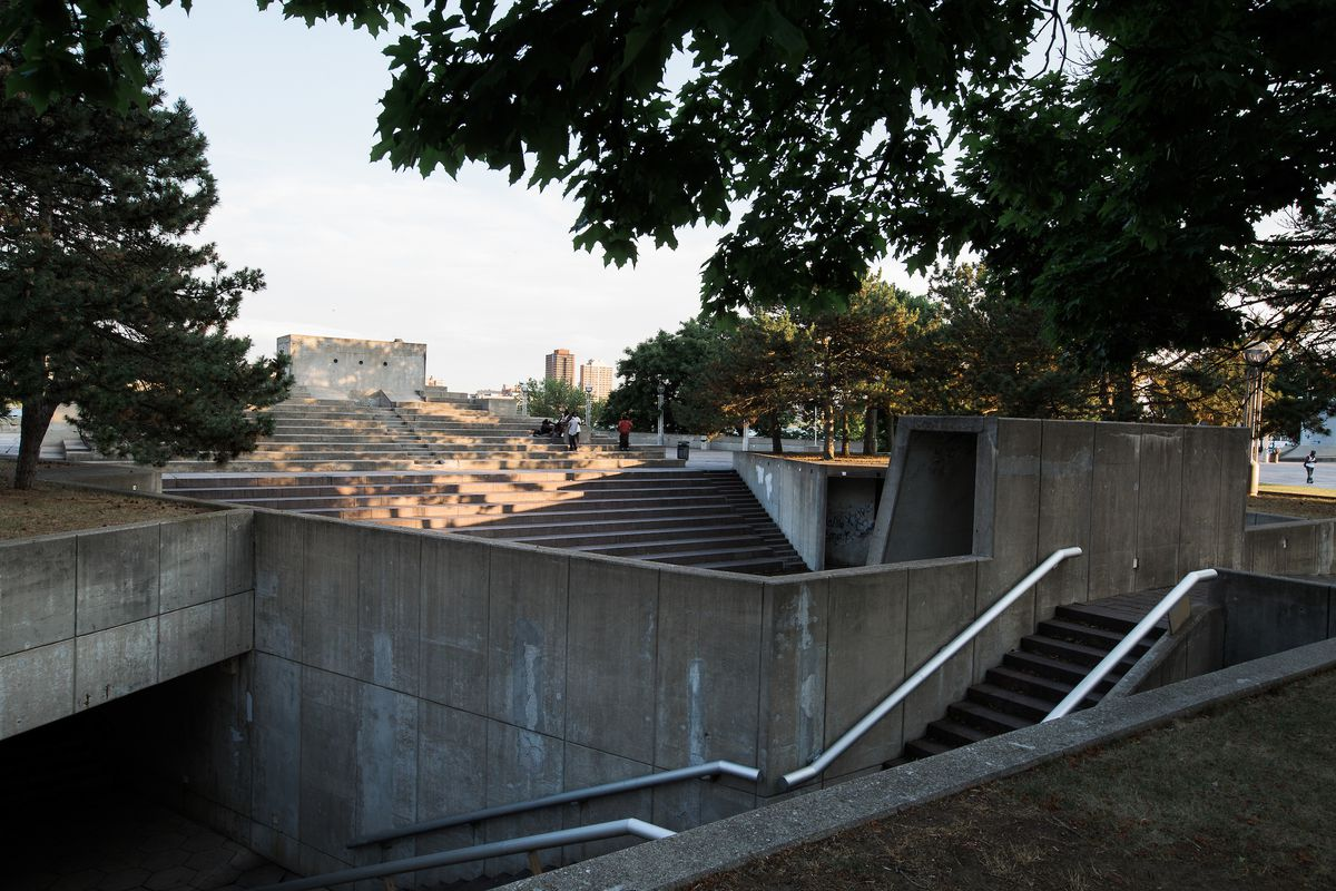 A jungle of concrete stairs and benches.
