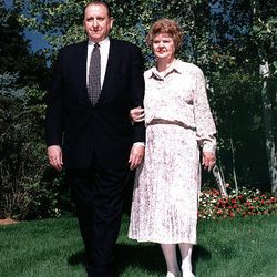 President Thomas S. Monson and his wife, Frances, pose outside their home for a Church News feature about their golden wedding anniversary in 1998. They were married Oct. 7, 1948, in the Salt Lake Temple.
