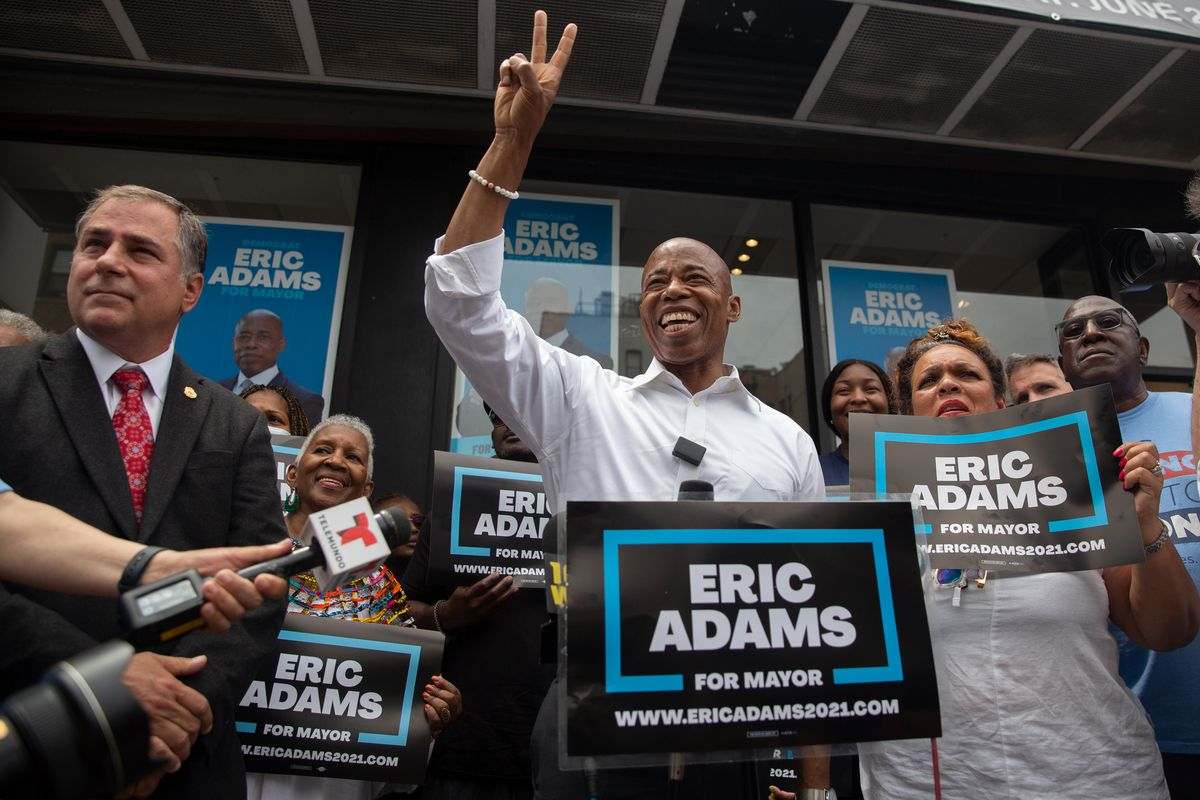 Brooklyn Borough President Eric Adams holds a rally outside his Flatbush campaign headquarters on the last day of campaigning before the mayoral primary, June 21, 2021.