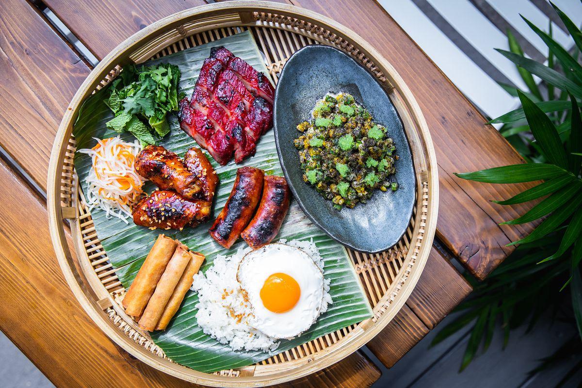 A round platter of Filipino foods.