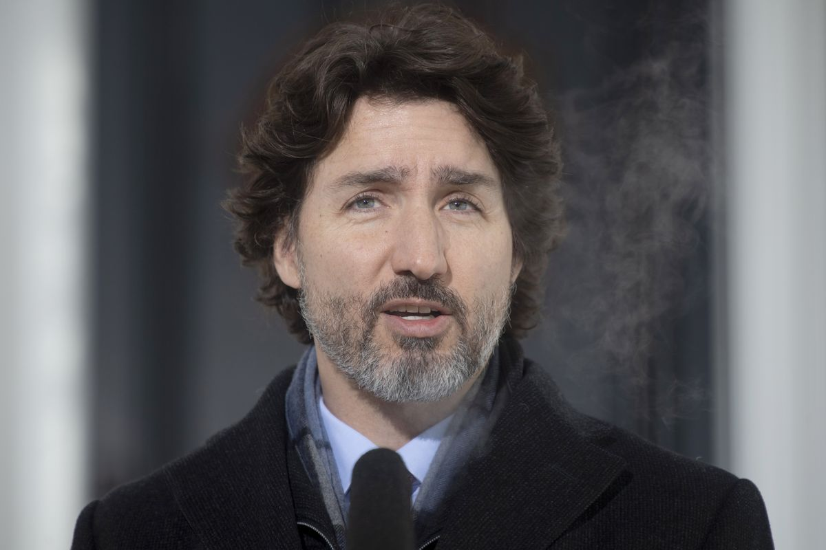 Canadian Prime Minister Justin Trudeau speaks during a news conference outside Rideau cottage in Ottawa, Ontario, Tuesday, Jan. 19, 2021.