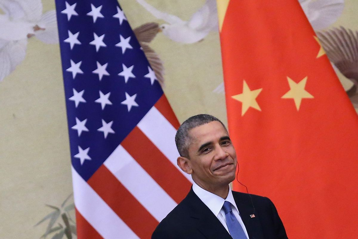 President Obama at a press conference with Chinese leader Xi Jinping in Beijing