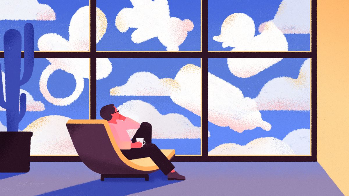 Illustration of a person in a chair looking out the window at clouds in the shapes of a baby bottle, a teddy bear, a pacifier, and a rubber duck.
