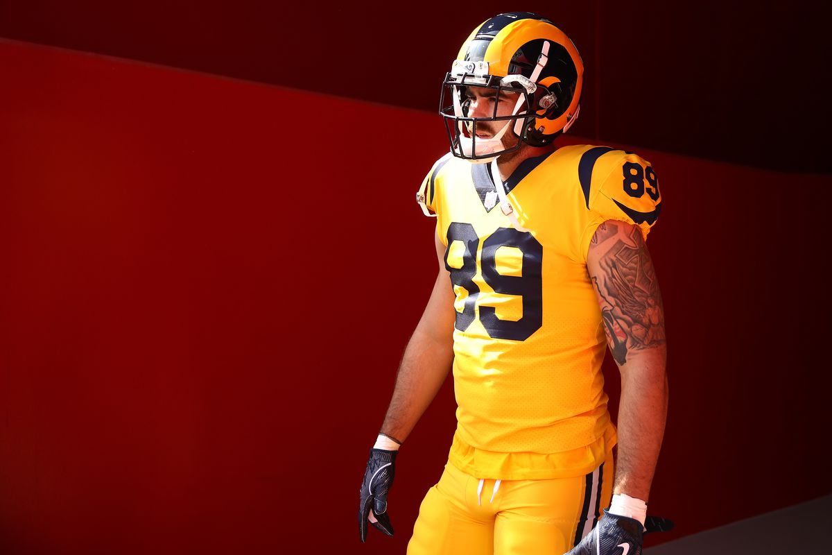 Tyler Higbee of the Los Angeles Rams walks to the field prior to their game against the San Francisco 49ers at Levi's Stadium on October 21, 2018 in Santa Clara, California.