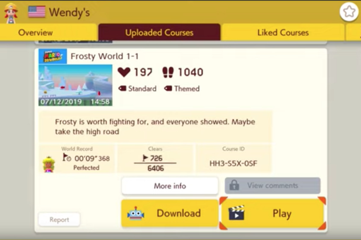 Super Mario Maker 2 screen showing a list of levels designed by Wendy's