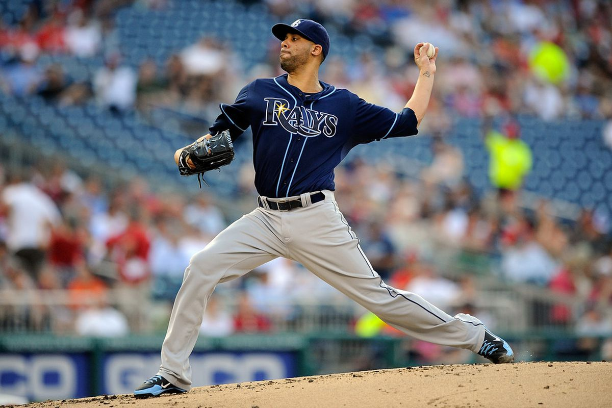 WASHINGTON, DC - JUNE 19:  David Price #14 of the Tampa Bay Rays throws a pitch against the Washington Nationals at Nationals Park on June 19, 2012 in Washington, DC.  (Photo by Patrick McDermott/Getty Images)