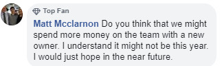 Matt Mcclarnon wants to know if the Royals might spend more money under John Sherman.