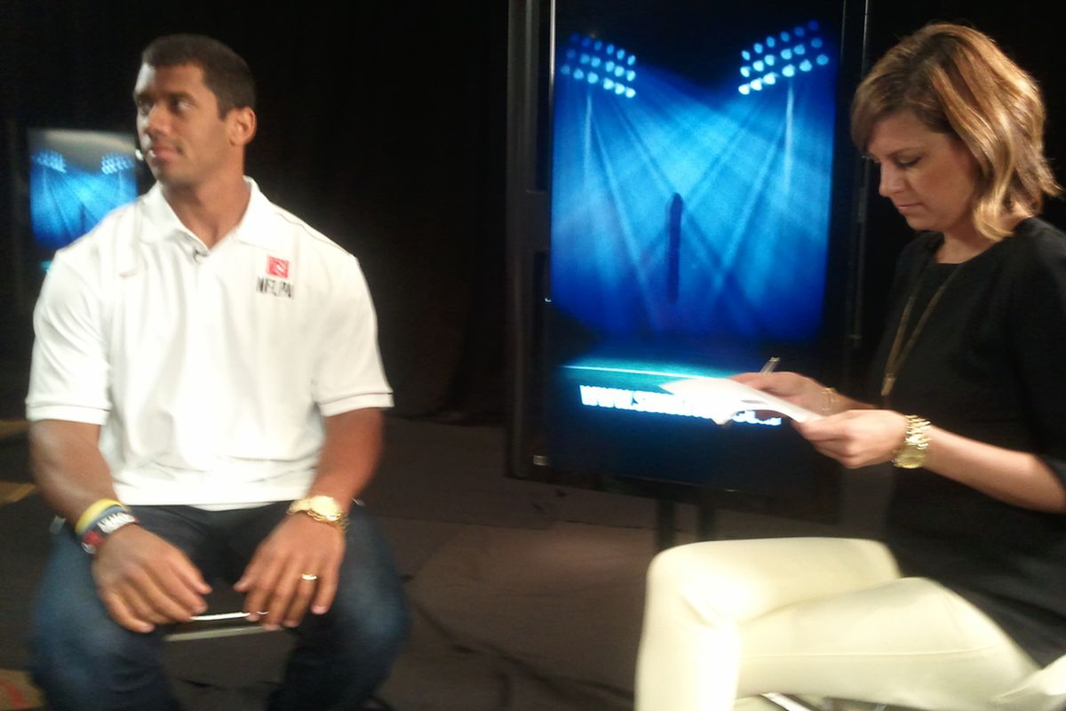 SBN's Amy K. Nelson sitting down with Russell Wilson at the NFLPA Rookie Premiere. (Via Joel Thorman's cell phone, I think)
