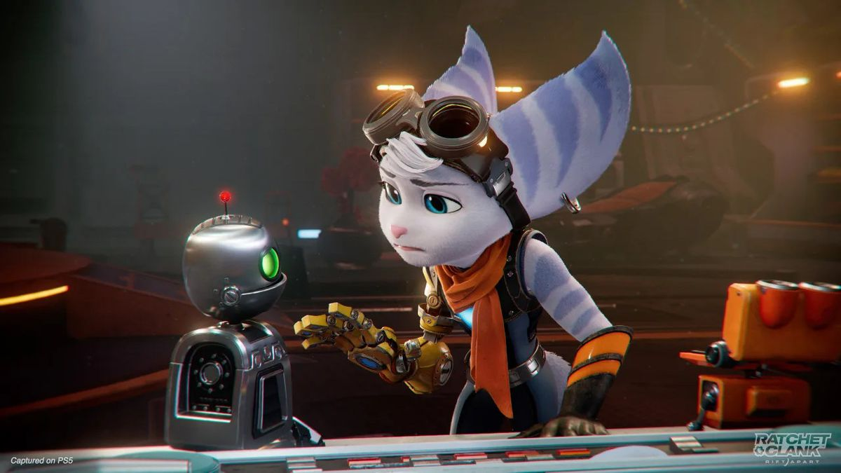 Rivet speaks to Clank in a screenshot from Ratchet & Clank: Rift Apart