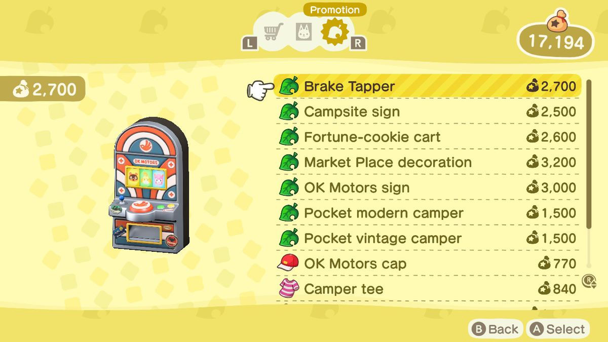 A menu showing off the items from Pocket Camp, as well as their prices