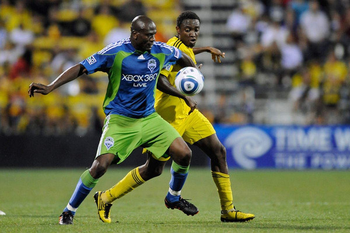 Outside of his three-goal game against the Columbus Crew last year, Blaise Nkufo never quite lived up to the expectations of many Seattle Sounders fans. (Photo by Jamie Sabau/Getty Images)