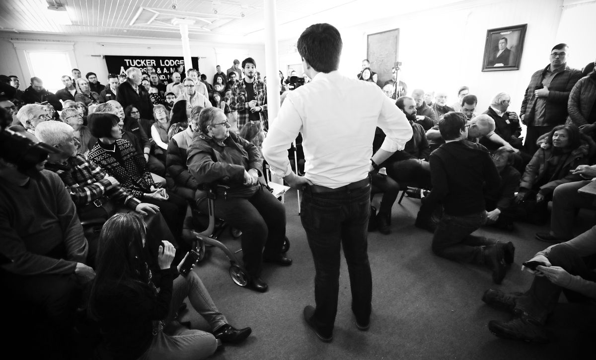 Mayor Pete Buttigieg answers questions during a gathering in Raymond, New Hampshire, on February 16, 2019.