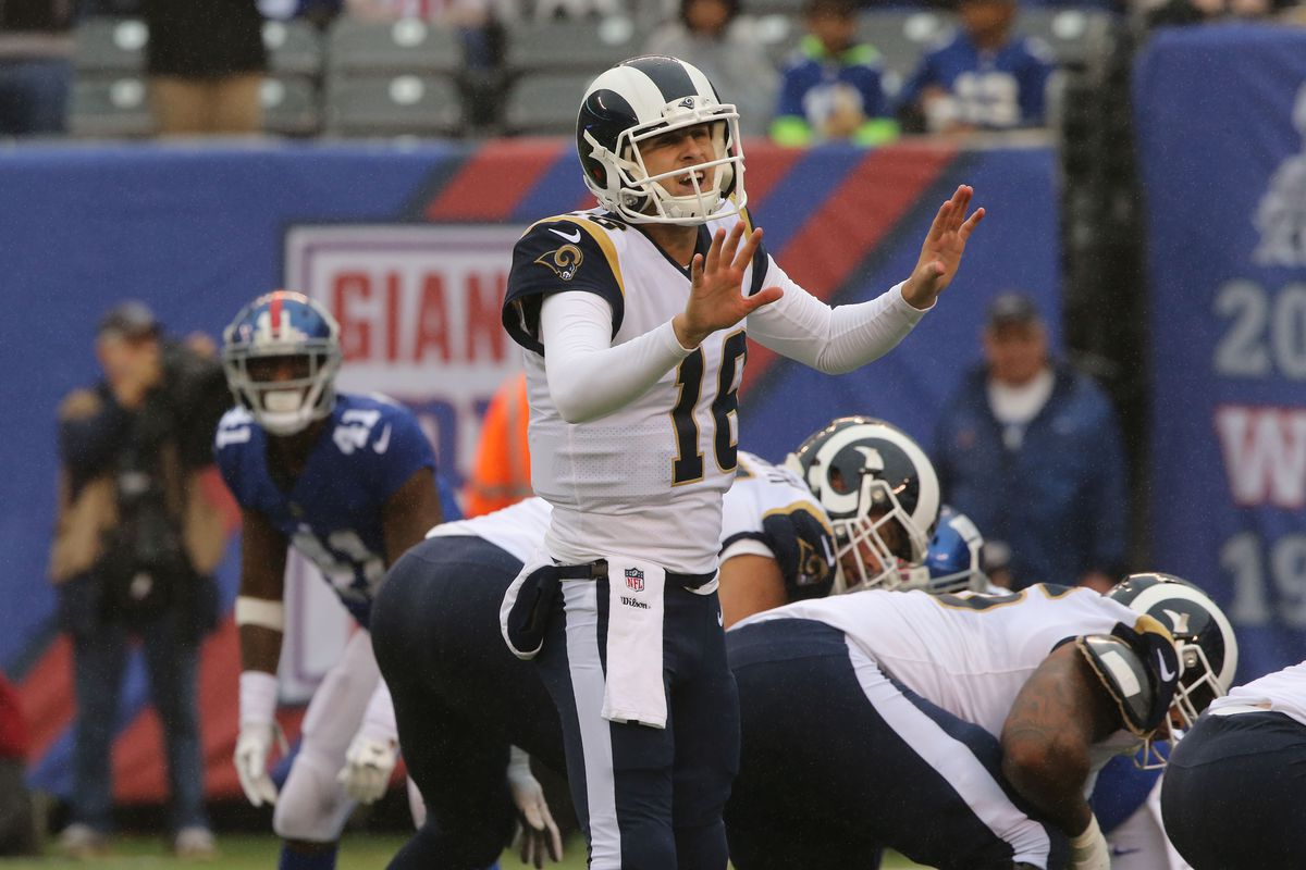 Quarterback Jared Goff of the Los Angeles Rams in action against the New York Giants at MetLife Stadium on November 5, 2017 in East Rutherford, New Jersey.