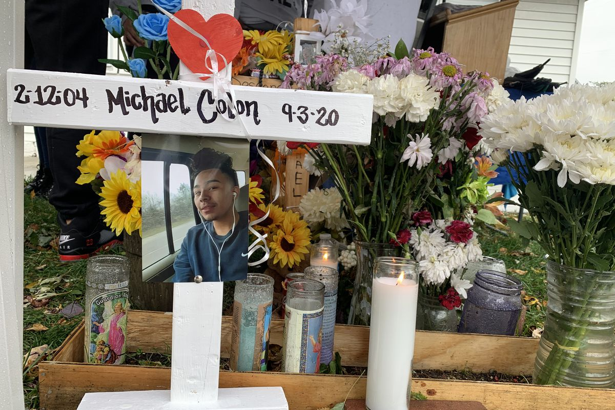 """A vigil at the scene of the killing of 16-year-old Michael """"Mikey"""" Colon in the Brighton Park neighborhood."""