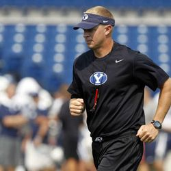 Coach Bronco Mendenhall during Brigham Young University football practice in Provo, Thursday, Aug. 16, 2012.