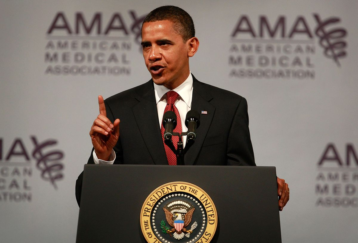 President Obama Addresses The  American Medical Association Annual Meeting