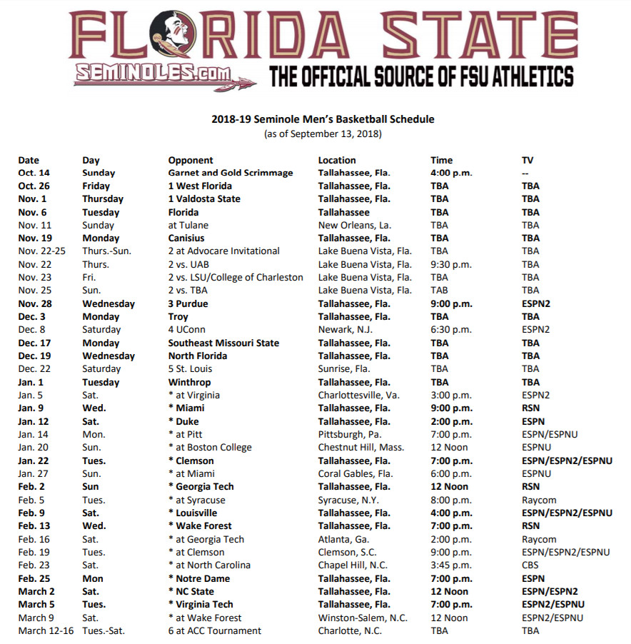 full 2018 19 florida state basketball schedule is released