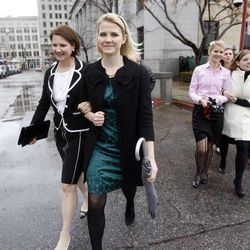 Lois and Elizabeth Smart leave the Frank E. Moss Federal Courthouse after a jury found Brian David Mitchell guilty in the 2002 kidnapping Elizabeth Smart in Salt Lake City Friday, December 10, 2010.