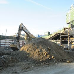 The tall mound of dirt almost obscuring the equipment behind it on Sheffield