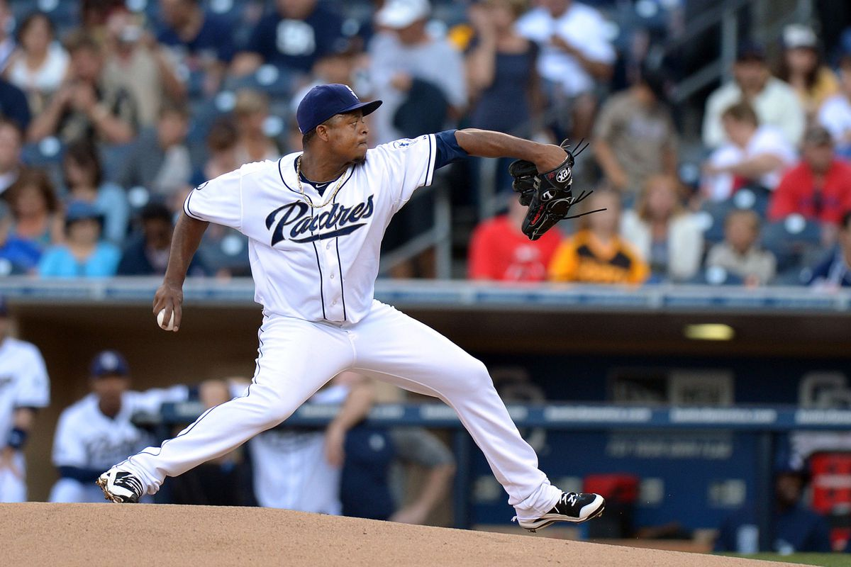 July 19, 2012; San Diego, CA, USA; San Diego Padres starting pitcher Edinson Volquez (37) pitches against the Houston Astros during the first inning at PETCO Park. Mandatory Credit: Jake Roth-US PRESSWIRE