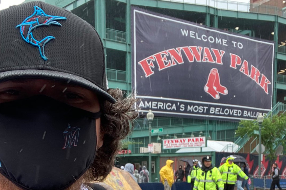 Alex Contreras visits rainy Fenway Park during last weekend's Marlins-Red Sox series