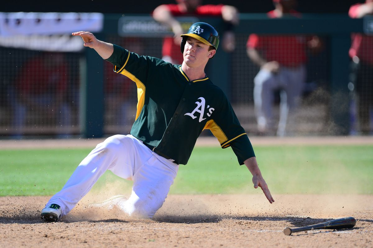 Joey Wendle at 2015 A's spring training.