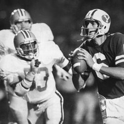 BYU Quarterbacks online photo gallery: Marc Wilson studies his receivers Dec. 8, 1979.