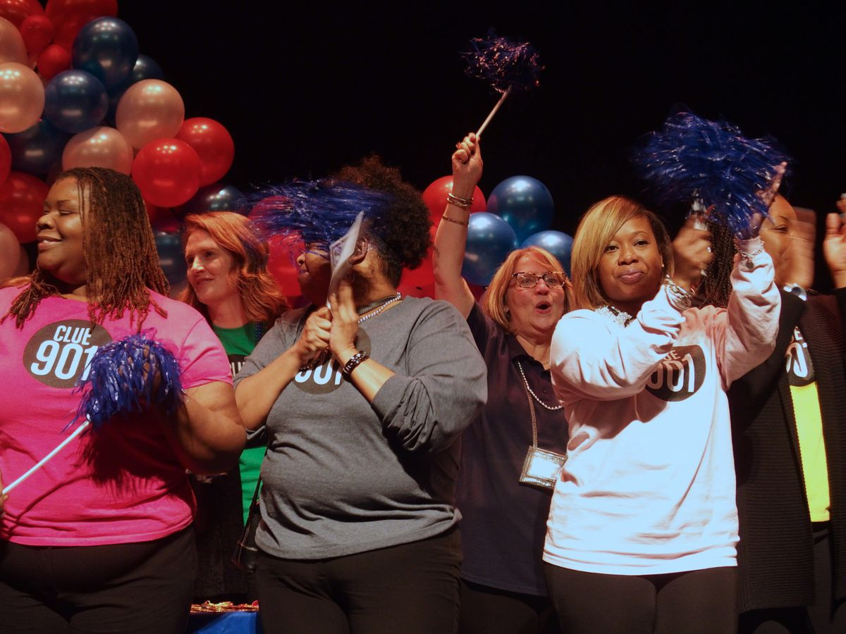 CLUE teachers cheer as newly identified gifted students are recognized in an induction ceremony Shelby County Schools hosted last week.