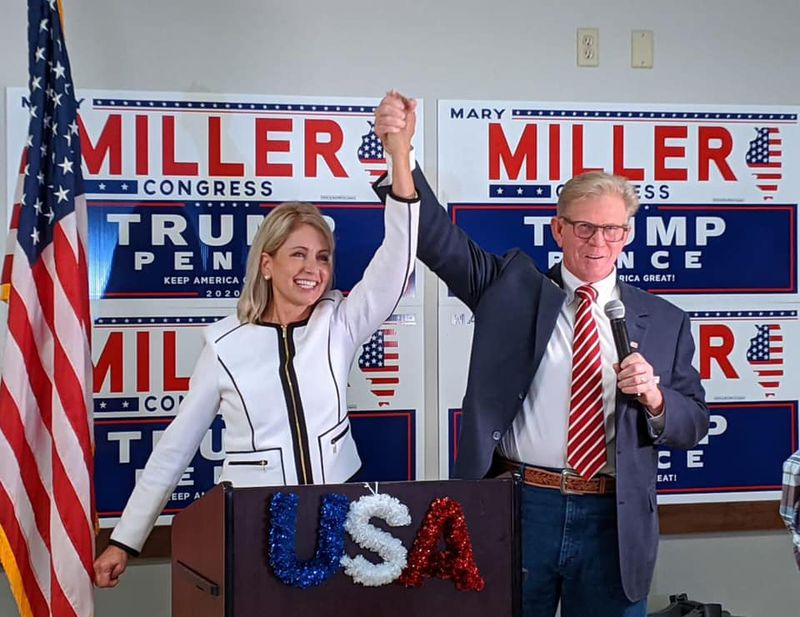 U.S. Rep-elect Mary Miller and her husband, state Rep. Chris Miller, celebrate on Election Day in November.