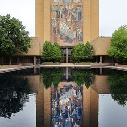 """The """"Word of Life"""" mural on the Theodore M. Hesburgh Library at the University of Notre Dame in South Bend, Ind., is pictured on Monday, June 28, 2021."""