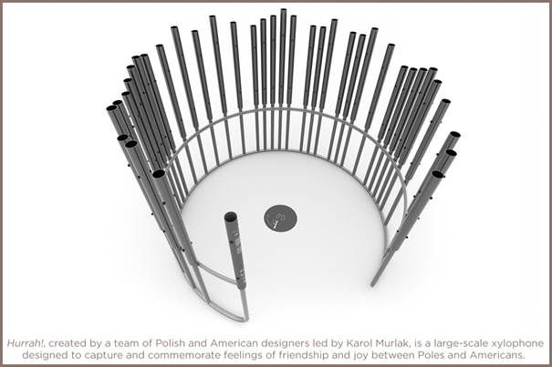 A rendering of the large-scale xylophone, featuring multiple scales in a circular formation.