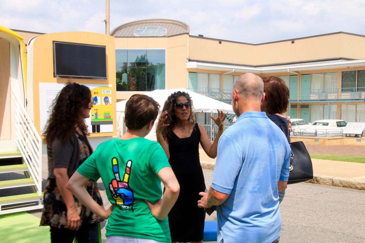Russlynn Ali, executive director of the XQ Institute, meets with contest applicants from Crosstown High during the institute's bus tour, which stopped in Memphis in June.