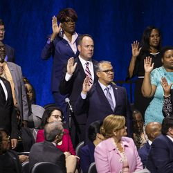 Members of the Chicago City Council are sworn in during the city's inauguration ceremony at Wintrust Arena, Monday morning, May 20, 2019.