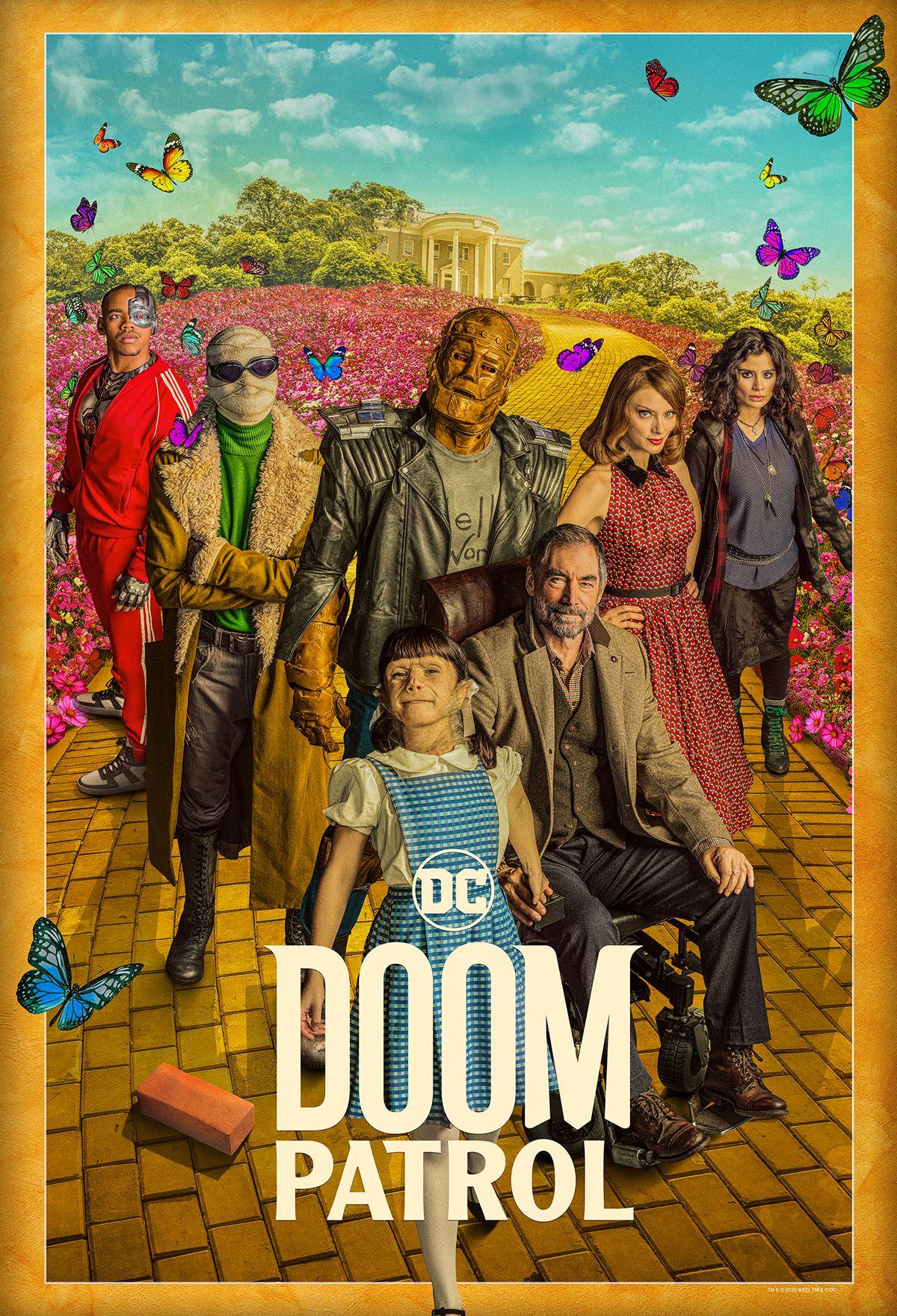 Cyborg, Negative Man, Robotman, Rita Farr, Crazy Jane, Danny the Brick, Dorothy Spinner, and the Chief on a poster for Doom Patrol season 2.