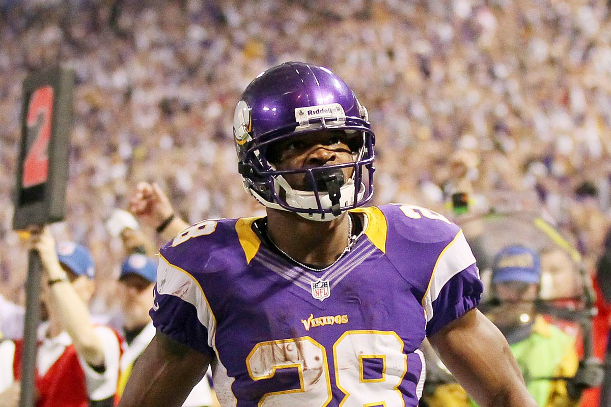 When the boogeyman goes to bed at night, he checks his closet for Adrian Peterson with the football.