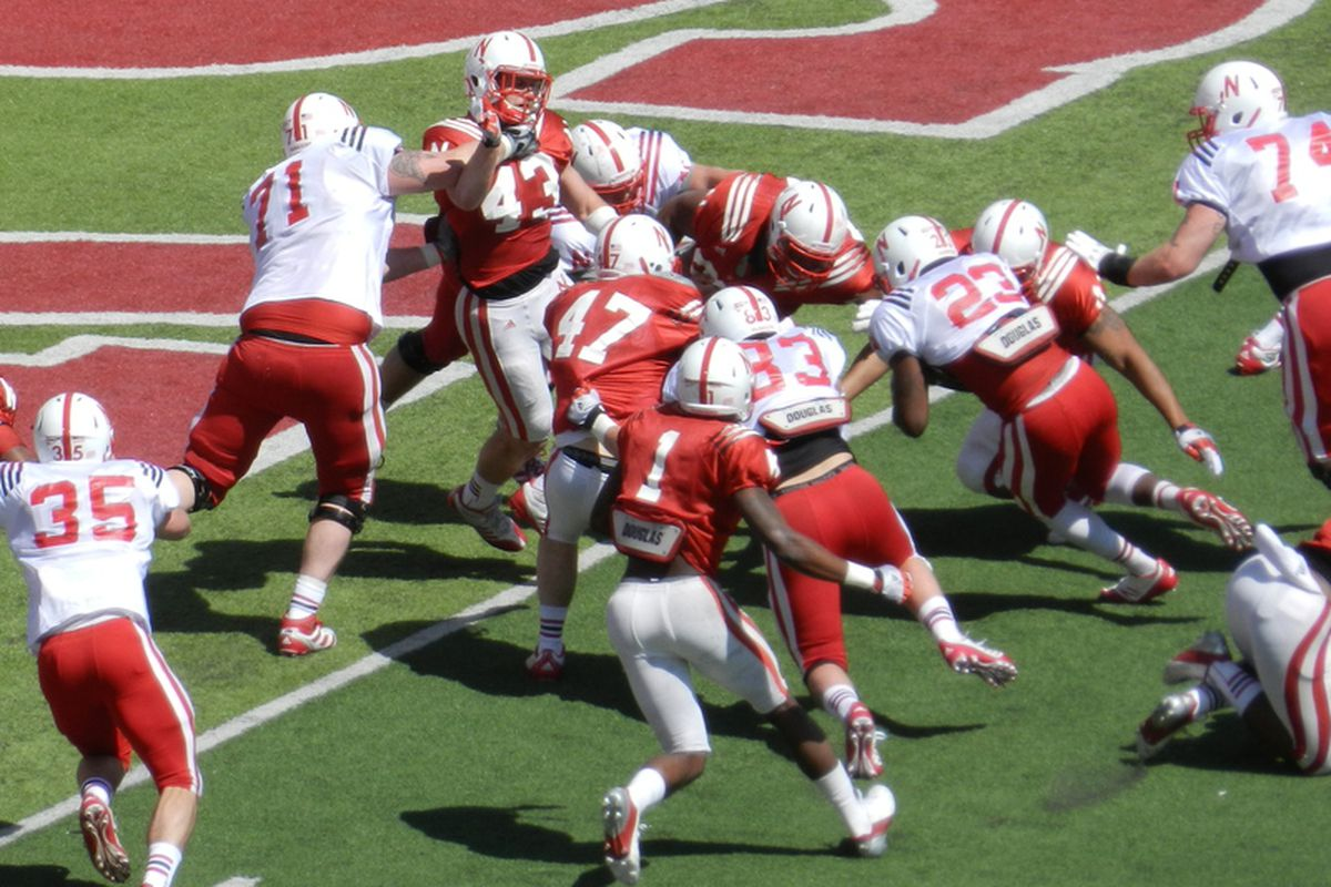 King Frazier was the first of the kids to score in the 2013 Nebraska Spring Game