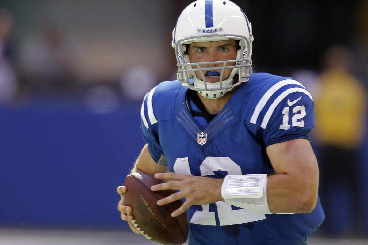 Indianapolis Colts' Andrew Luck runs during the first half of an NFL football game against the Minnesota Vikings in Indianapolis, Sunday, Sept. 16, 2012.